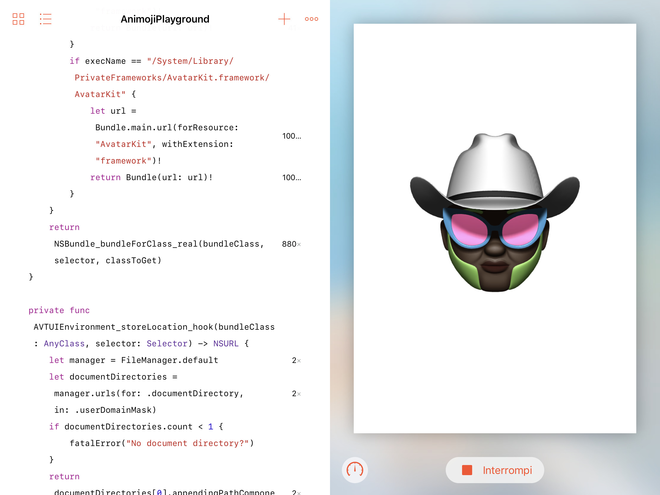 screenshot of the Memoji editor in Swift Playgrounds
