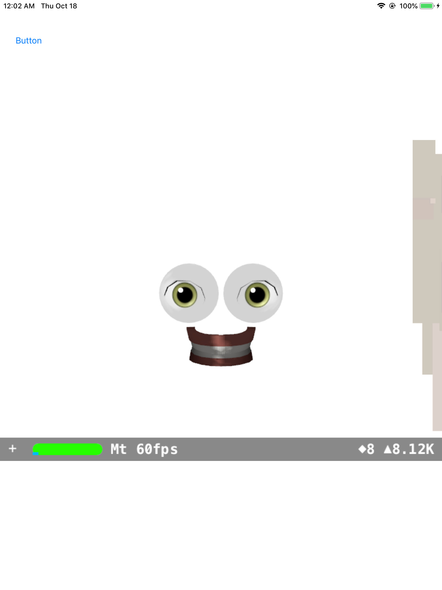 glitched Memoji, showing only disembodied eyes and teeth