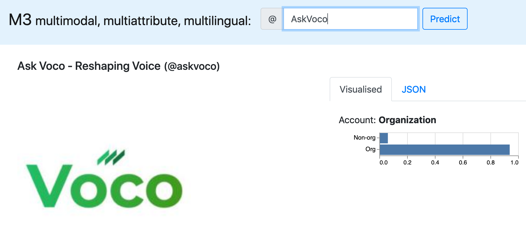 screenshot of m3inference on @AskVoco