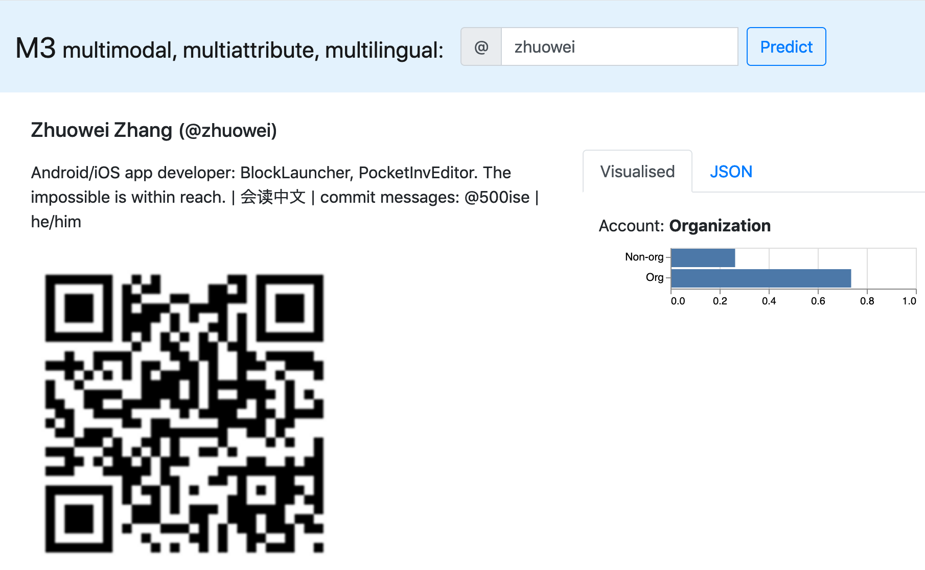 screenshot of m3inference on @zhuowei, saying that I'm a corporate account